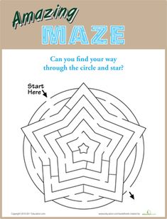 Kindergarten Mazes Worksheets: Star Maze