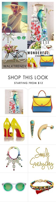 """WALKTRENDY CONTEST"" by antonija2807 ❤ liked on Polyvore featuring Dolce&Gabbana, Christian Louboutin, Pamela Love, Bijoux de Famille, WALL, Illesteva and Sole Society"