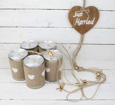 Tin Can Wedding Car Decorations, Rustic car decoration, Wedding decoration, Wedding Car decorations by simplyWeddingday on Etsy