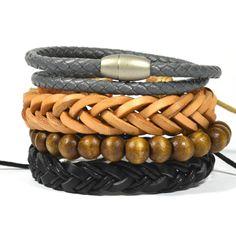 Tag Twenty Two 4 Pack Gray Twist Bracelet Set ($32) ❤ liked on Polyvore featuring men's fashion, men's jewelry, men's bracelets, mens woven bracelets, mens leather braided bracelets and mens magnetic bracelets