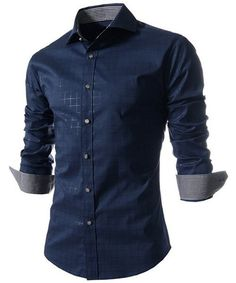 Navy Men's Shirt with Long Sleeves