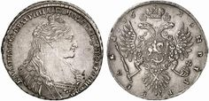 Rouble. Pendant of three pearls on bosom, no ribbons. Russian Coins. Anna 1730-1740. 1736. 25,78g. Bit 129. EF. Price realized 2011: 1.100 USD.