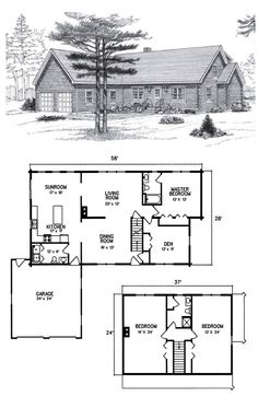 3 Bed 2.5 Bath 2 Levels 2432 Sq ft.  An attractive three-bedroom cape-style home, the Acadia offers large bedrooms, 2 full baths, a spacious living room and dining room. A 17'x10' sunroom adds light and space to an already ample kitchen, and brings plenty of comfortable living space to the inside. The attached two-car garage offers the convenience of easy entry, and lots of open storage space. Here is a home that brings showplace elegance to log home authenticity.