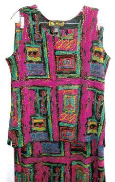 "Mirasol Sleeveless Top Maxi Skirt Fuchsia Stretchy L  XL Bust 41"" Waist 33""-36""  #MIRASOL #Maxi"