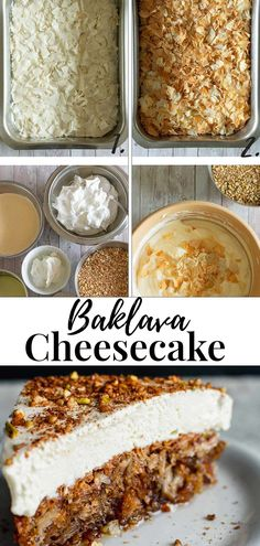 The easiest way to make a Cheesecake Baklava. With crispy baked phyllo, mixed into a cake base with nuts and soaked in a thick honey syrup. Topped with a quick no-bake cream on top! #cheesecake #Baklava #Greek Greek Desserts, Greek Recipes, No Bake Desserts, Dessert Recipes, Baklava Cheesecake, Cheesecake Recipes, Cream Cheese Topping, Creamed Honey, Honey Syrup