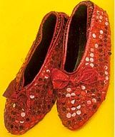 Ruby slipper shoe covers. Both girls could wear same pair - just slip on over ballet flats.