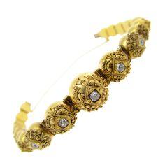 Antique Victorian Etruscan Revival Diamond Bracelet
