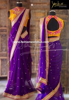 Ethinic Saree collection from Yaksi Deepthi Reddy Designer Sarees Wedding, Saree Wedding, Indian Dresses, Indian Outfits, Indian Clothes, Mirror Work Saree Blouse, Purple Saree, Yellow Saree, Indian Wedding Couple Photography