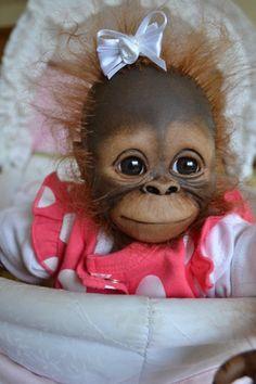 OOAK Reborn monkey orangutan baby Girl art doll orangutan baby Sweetie primate