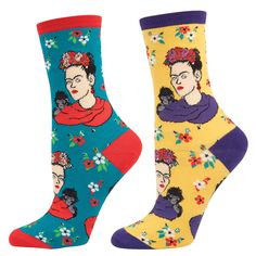 Frida Kahlo with Flowers and Monkey Socks - Assorted Colors - Detroit Institute of Arts Museum Shop