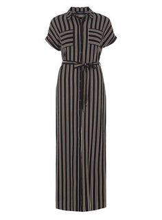 Stripe maxi shirt dress