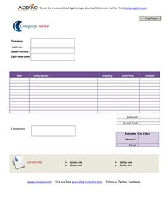 Printable Invoice Templates Free Simple Blue Theme  Invoice Template Word Doc  Pinterest  Microsoft