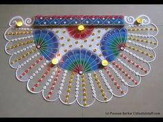 Easy peacock feather rangoli design for diwali | Innovative rangoli designs by Poonam Borkar - YouTube