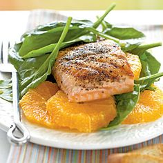 Grilled Salmon and Spinach Salad | MyRecipes.com