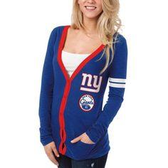 New York Giants Ladies Slub Button-Up Long Sleeve Cardigan - Royal Blue