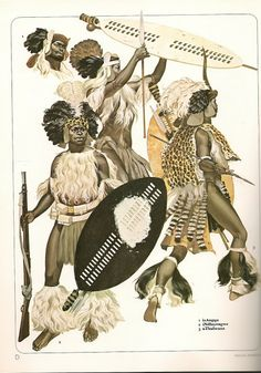 Zulu Warriors by ANGUS McBRIDE. L to R iNdluyengwe Regt carrying equipment captured at Isandlwana, isAngqu Regt,( a simpler version of the headdress is also shown) and uThulwana Regt. African Culture, African History, African Art, Military Art, Military History, Military Uniforms, Zulu Warrior, African Tattoo, African Tribes