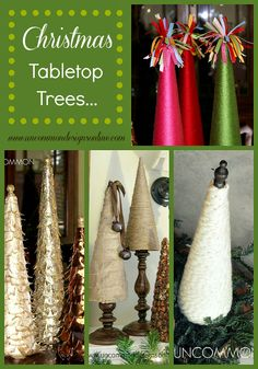 A collection of Christmas tabletop trees perfect for any seasonal decor. Tabletop Christmas Tree, Noel Christmas, Winter Christmas, All Things Christmas, Christmas Decorations, Xmas Trees, Holiday Decorating, Christmas Inspiration, Holiday Crafts