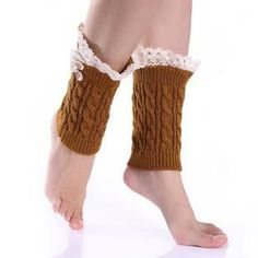 Lace Boot Socks Buttons Knit Boot Cuffs Short Knitted Adult Leg Warmers Twisted Boot Toppers Legwarmers Beenwarmers Boot Covers