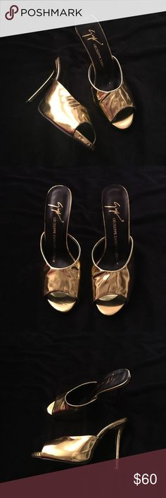"Gold Giuseppe Zanotti Design High Heel Mules Gold Giuseppe Zanotti Design High Heel Mules. These are not genuine and are designer inspired. 5.25"" heel. Brand new and never worn, purchased from another auction site. Priced to sell and not negotiable. Shoes Heels"