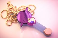 PLEASE NOTE: This is a Pre-Order. This necklace will be made to order and will be shipped 3 weeks from the date of purchase.   Saturn Planet Power, Make Up! Transform into your favourite outer scout with this necklace!  This pendant is crafted from gold pearlescent. purple mirror and frosted ...