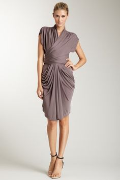 C & T Draped Overlay Dress with Pockets in Graphite taupe grey gray greige