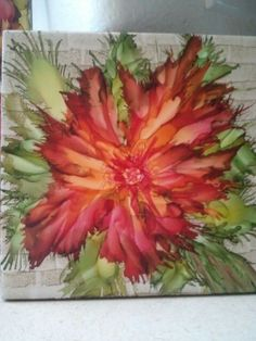 Flower in alcohol ink by tina Flower in alcohol ink by tina Alcohol Ink Tiles, Alcohol Ink Crafts, Alcohol Ink Painting, Diy Arts And Crafts, Watercolor Cards, Pictures To Paint, Art Plastique, Resin Art, Flower Art