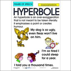 Figure of Speech: Hyperbole English Teaching Materials, Teaching English Grammar, English Writing Skills, English Lessons, Advanced English Vocabulary, Vocabulary Instruction, Vocabulary Words, Interesting English Words, Learn English Words