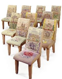 RAOUL DUFY , Set of leather and Tapestry upholstered dining chairs depicting monuments of Paris, circa 1935