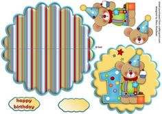 Birthday Bear Age 1 Wobble Card on Craftsuprint designed by Mary MacBean - Fun and colourful birthday card with a cute teddy and age 1. There is a Happy Birthday sentiment or a blank tag for your own message.  - Now available for download!