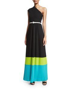 One-Shoulder+Colorblock+Plisse+Gown,+Black/Lime/Aqua+by+Michael+Kors+Collection+at+Neiman+Marcus.