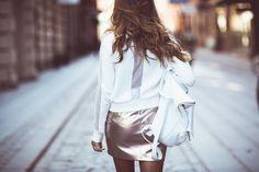 Kenza, sheer panel, white backpack, metallic skirt