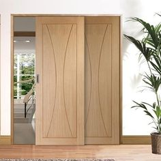 A free delivery is standard, these Easi-Slide Verona Oak sliding doors incorporating a frame and track set with fixed side inset, the opening door can slide left or right when positioned correctly.