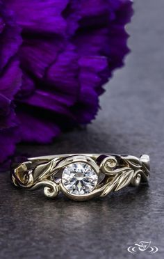 Floral Leaf Wrap Engagement Ring. Green Lake Jewelry