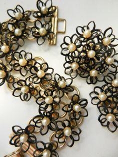 Original early 1950s black enamel floral design by RAKcreations