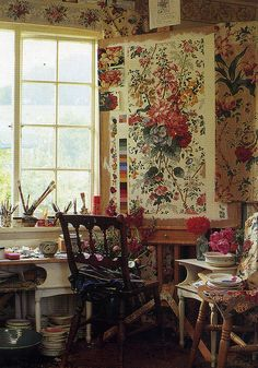 floral fabric designer Philip Jacobs workroom