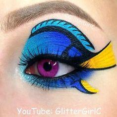 Crazy Eye Makeup, Creative Makeup Looks, Eye Makeup Art, Colorful Eye Makeup, Makeup Eye Looks, Elf Makeup, Makeup Artistry, Eyebrow Makeup, Dory Makeup