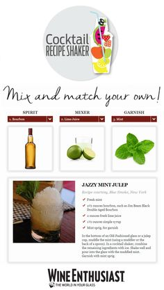 Wine Enthusiast Cocktail Recipe Shaker - Start with a spirit and find mixers and garnishes to make your new favorite drink! #wineenthusiast #cocktails