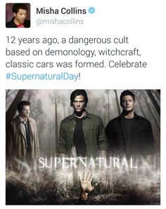 Misha on twitter, happy supernatural day!!!