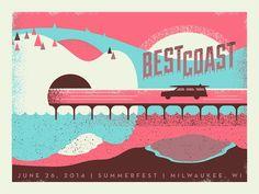 Project: Best Coast Gig Poster - 3 color screen print layers | Designer: Ryan Brinkerhoff #flatstock #poster