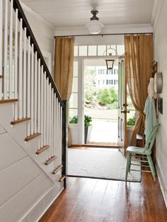 Decoration, Wonderful Brown Tall Style Curtains In Farmhouse Entry Room With Simple White Chandelier And Wooden Stairs Mix To White Wall And...