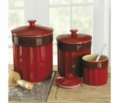 CHEFS Stoneware Kitchen Canister Set, 3 pieces(colors: red, blue, white)