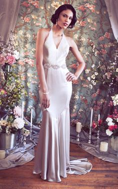 Marlena Gown From Rebecca Schoneveld Bridal. #Old Hollywood Glamour #Halter #1920's #Train #Evening #Wedding