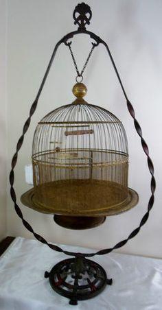 Antique Victorian Art Deco Nouveau Brass HENDRYX Bird Cage & Stand Glass Feeder