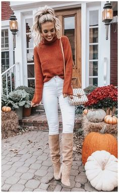 Winter Outfits To Copy ASAP: Colorful orange sweater with white jeans., Winter Outfits To Copy ASAP: Colorful orange sweater with white jeans. These casual winter outfits will keep you warm when other cold weather outf. Simple Fall Outfits, Casual Winter Outfits, Winter Fashion Outfits, Look Fashion, Autumn Winter Fashion, Trendy Fashion, Winter Wear, Fashion Ideas, Womens Fashion