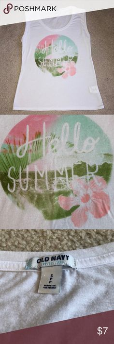 Hello Summer Tank Size small. Worn a few times. Slightly sheer, I always wore braletts under it. Old Navy Tops Muscle Tees