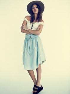 Free People Chambray Denim Skirt at Free People Clothing Boutique