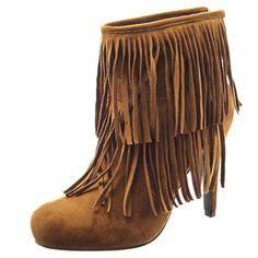 Sopily - damen Mode Schuhe Stiefeletten Franse - Camel - http://on-line-kaufen.de/sopily/sopily-damen-mode-schuhe-stiefeletten-franse