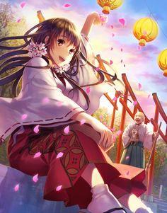 ✮ ANIME ART ✮ miko priestess. . .Shinto priestess uniform. . .shrine. . .priest. . .flower petals. . .paper lanterns. . .long hair. . .flowers. . .sakura. . .cherry blossoms. . .cute. . .kawaii