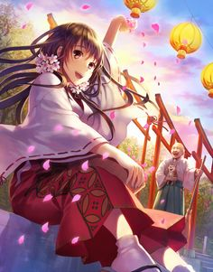 ✮ ANIME ART ✮ miko priestess. . .Shinto priestess uniform. . .shrine. . .priest. . .flower petals. . .paper lanterns. . .long hair. . .flowers. . .sakura. . .cherry blossoms. . .cute. . .kawaii