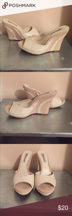 Charles David Cream Wedge. Size 6. Summer MUST! Charles David Cream Wedge. Size 6. Summer MUST! Leather Thick Strap. Basket Wedge With Leather Detail. Charles David Shoes Wedges
